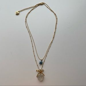 Betsey Johnson Gold-Tone Blue Heart Layer Necklace